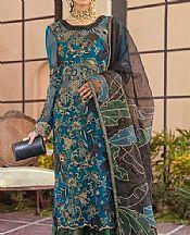 Blue/Green Chiffon Suit- Pakistani Chiffon Dress