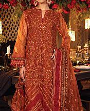 Rust Net Suit- Pakistani Chiffon Dress