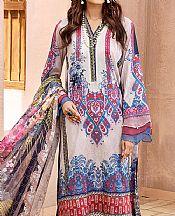Off-white/Denim Blue Lawn Suit- Pakistani Lawn Dress