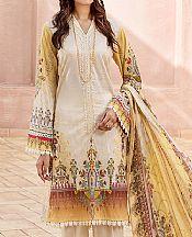Off-white/Sand Gold Lawn Suit- Pakistani Lawn Dress
