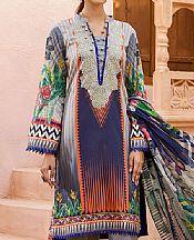 Grey/Navy Blue Lawn Suit- Pakistani Designer Lawn Dress