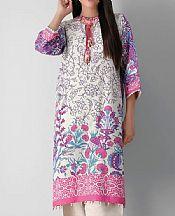 White/Pink Khaddar Suit (2 Pcs)- Pakistani Winter Clothing