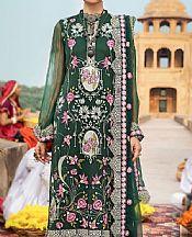 Bottle Green Chiffon Suit- Pakistani Chiffon Dress