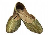 Ladies Khussa- Golden- Khussa Shoes for Women