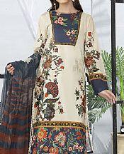 Ash White Cambric Suit (2 Pcs)- Pakistani Winter Clothing