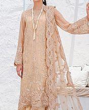 Beige Crinkle Chiffon Suit- Pakistani Chiffon Dress