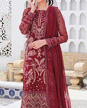 Maroon Crinkle Chiffon Suit- Pakistani Chiffon Dress