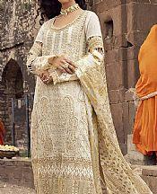 Ivory/Gold Georgette Chiffon Suit- Pakistani Designer Chiffon Suit