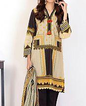 Black/Cream Lawn Suit (2 Pcs)- Pakistani Lawn Dress
