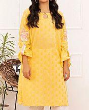 Golden Yellow Jacquard Kurti- Pakistani Designer Lawn Dress