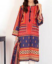 Red/Navy Blue Lawn Suit (2 Pcs)- Pakistani Designer Lawn Dress