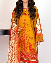 Orange Lawn Suit (2 Pcs)- Pakistani Lawn Dress