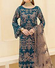 Teal Blue Chiffon Suit- Pakistani Designer Chiffon Suit
