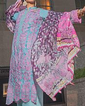 Turquoise/Mauve Lawn Suit- Pakistani Lawn Dress