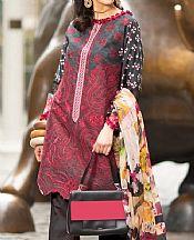 Grey/Crimson Lawn Suit- Pakistani Lawn Dress