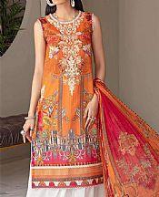 Safety Orange Lawn Suit (2 Pcs)- Pakistani Designer Lawn Dress