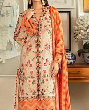 Ivory/Orange Slub Suit- Pakistani Winter Clothing