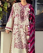 Off-white/Plum Slub Suit- Pakistani Winter Dress
