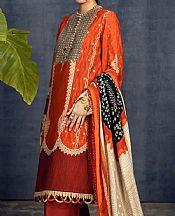 Bright Orange Slub Suit- Pakistani Winter Dress
