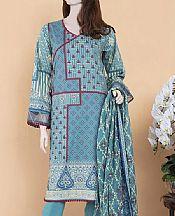Light Turquoise Lawn Suit (2 Pcs)- Pakistani Lawn Dress