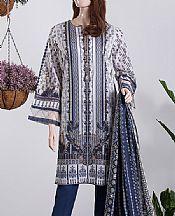 Denim Blue/White Lawn Suit (2 Pcs)- Pakistani Lawn Dress