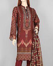 Maroon Lawn Suit (2 Pcs)- Pakistani Lawn Dress