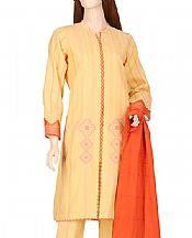 Light Gold Jacquard Suit- Pakistani Designer Lawn Dress