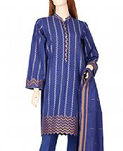 Royal Blue Jacquard Suit- Pakistani Designer Lawn Dress