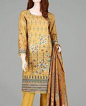 Golden Yellow Lawn Suit- Pakistani Designer Lawn Dress