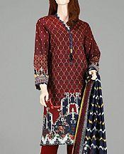 Maroon Lawn Suit (2 Pcs)- Pakistani Designer Lawn Dress