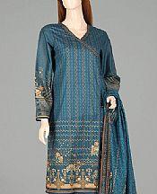 Teal Blue Lawn Suit (2 Pcs)- Pakistani Designer Lawn Dress