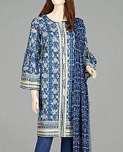 Denim Blue Lawn Suit- Pakistani Lawn Dress