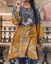 Denim Blue/Mustard Lawn Kurti- Pakistani Lawn Dress