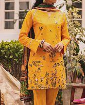 Golden Yellow Lawn Suit (2 Pcs)- Pakistani Designer Lawn Dress