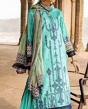 Cyan Lawn Suit- Pakistani Designer Lawn Dress