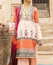 Coral/Off-white Lawn Suit- Pakistani Designer Lawn Dress