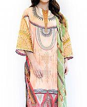 Sand Gold/Light Green Lawn Suit- Pakistani Designer Lawn Dress
