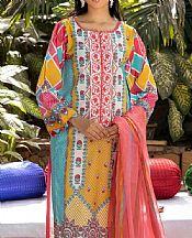Turquoise/Mustard Lawn Suit- Pakistani Designer Lawn Dress