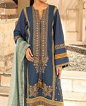 Prussian Blue Lawn Suit- Pakistani Designer Lawn Dress