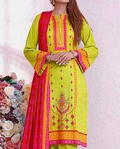 Neon Green Cambric Suit- Pakistani Lawn Dress