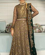 Tan/Green Chiffon Suit- Pakistani Chiffon Dress