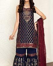 Navy Blue Chiffon Suit- Pakistani Designer Chiffon Suit