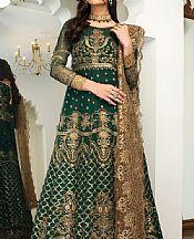 Bottle Green Chiffon Suit- Pakistani Designer Chiffon Suit