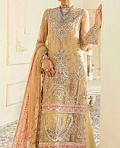 Sand Gold Organza Suit- Pakistani Designer Chiffon Suit