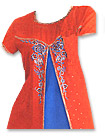 Red/Blue Chiffon Trouser Suit- Pakistani Casual Dress
