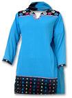 Turquoise/Black Georgette Trouser Suit- Pakistani Casual Clothes