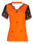 Orange/Black Georgette Trouser Suit- Pakistani Casual Dress