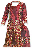 Maroon Pure Katan/Jamawar Gharara - Pakistani Bridal Dress