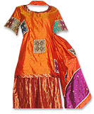 Orange Pure Katan/Jamawar Gharara