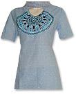 Pale Blue Khaddar Suit- Pakistani Casual Clothes